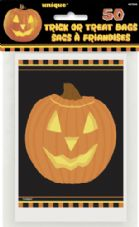 50 Halloween Pumpkin Glow Trick-Or-Treat Plastic Loot Bags